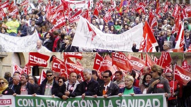 DOS INSTANTES DE LA MANIFESTACIÓN EN TOLEDO EN UNA IMAGEN DE CCOO.