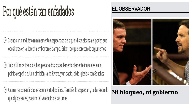 """A la izquierda, titulares del artículo de Escolar en eldiario.es. A la derecha, imagen de """"elObservadorDCLM"""""""